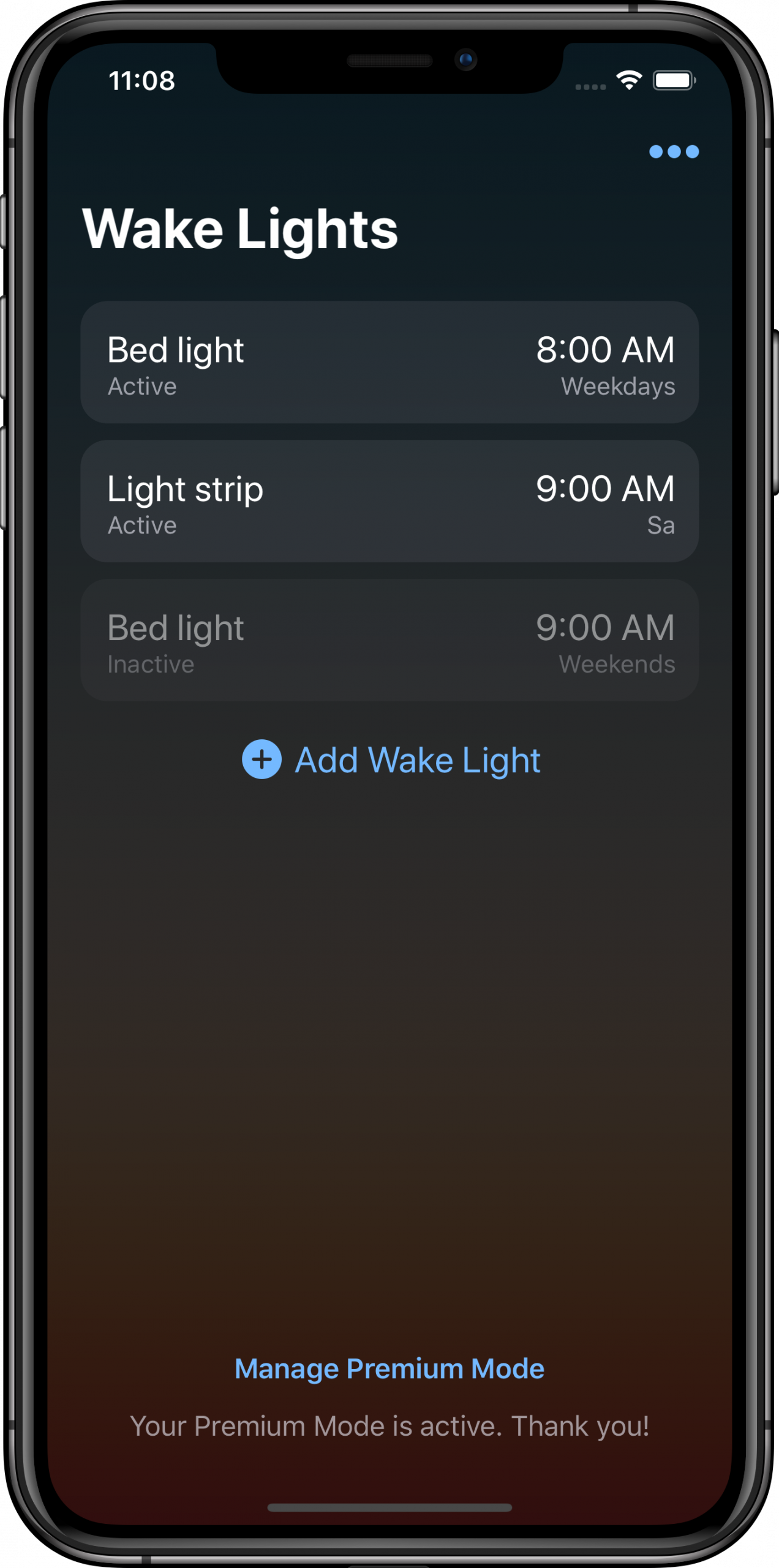 Overview screen of Wake Up Light with multiple alarms configured