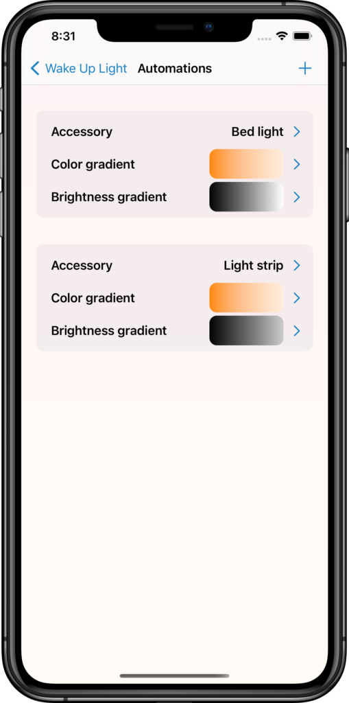 Automations page with color and brightness gradients per automation